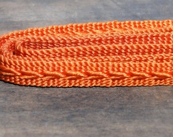 Obijime. Japanese Cord for Tying Obi. Woven Silk Tie Belt. Orange Rust  (Ref: 949)