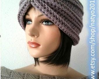 INSTANT DOWNLOAD Turban Style - Rhinestone Beanie Crochet Pattern