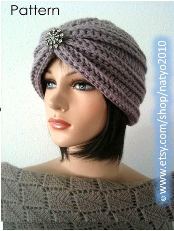 Turban Style Rhinestone Beanie CROCHET PATTERN by NatalieSpot
