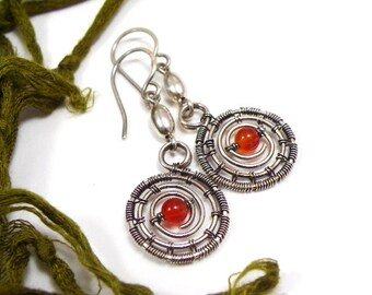 Handmade wire wrapped dangle earrings sterling silver orange agate jewelry