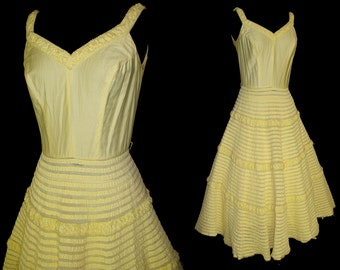 Vintage 1950s Dress . New Look Mod Yellow Femme Fatale Garden Party Mad Men Party Pinup Bombshell Rockabilly Wedding