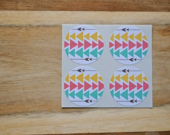 Tribal Chevron / Arrow Envelope seals- 16 white round labels/seals 1.2""