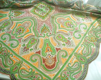 Vintage 1940s Silk Scarf with Large Paisely Print Made in Occupied Japan
