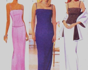 90s  Womens Princess Seam Evening Top, Skirt & Stole Butterick Sewing Pattern 6070 Size 18 20 22 Bust 40 42 44 UnCut Prom or Bridesmaid