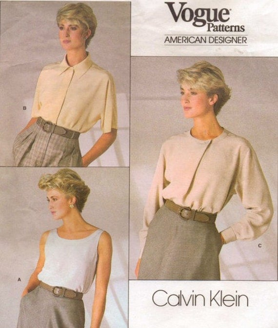 80s Calvin Klein Womens Top and Blouse Vogue American Designer Sewing Pattern 1860 Size 10 Bust 32 1/2 Suit Blouse Pattern