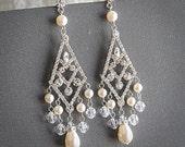 Vintage Style Bridal Earrings, Swarovski Pearl and Rhinestone Statement Wedding Earrings, Art Deco Bridal Jewelry, Long Earrings, CONSTANCE