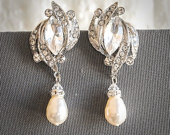 60% OFF SALE, Crystal Bridal Earrings, Art Deco Wedding Earrings, Art Deco Dangle r Earrings, Swarovski Pearl Drop Dangle Jewelry, FANCHONE
