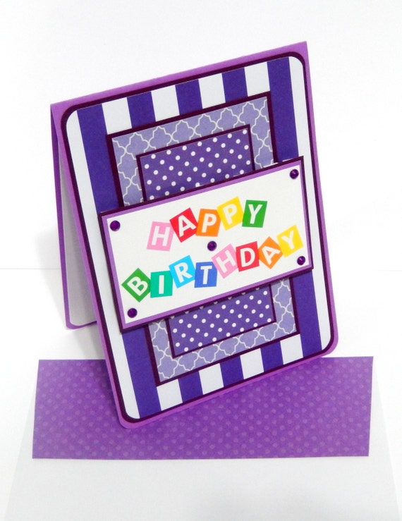 Purple Stripes Birthday Card with Matching Embellished Envelope