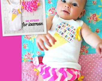 Baby Girl Icecream Diaper Cover and Tank Set