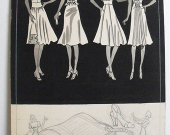 Original Art School Pencil and Ink Fashion Drawing from 1933-35