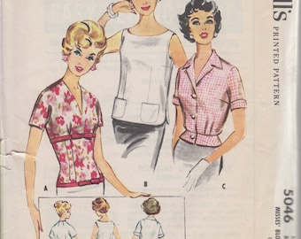 1959 Misses' Blouse Set McCall's 5046 Size 14 Bust 34