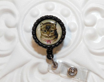 Retractable Badge Holder Bottlecap ID Badge Reel Teacher Lanyard  Cat