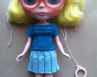 Knitting Pattern-Scoop Sweater and Skirt for Blythe