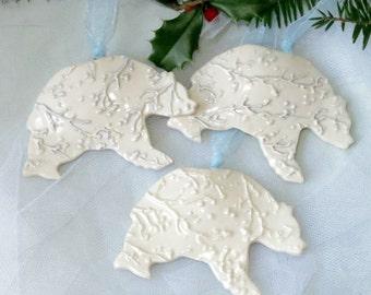 Porcelain Polar Bear Ornament / Handmade Pottery Ceramic Grizzly / Christmas Snow Bear / Gift Under 10 / Elegant / Woodland Cabin Theme