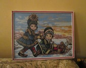 Vintage Needlepoint Children Sleigh Riding  / 60s Framed Needlepoint / Child's Room