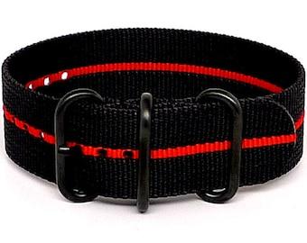 Ballistic Nylon NATO 1 Piece Watch Strap - Black Red Stripe (PVD Buckle)