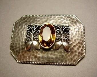Theodor Fahrner Brooch Hermann Haussler Jugendstil Arts Crafts Art Nouveau Secessionist German Depose 935 Silver Filigree Citrine Brosche