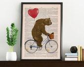 Wall art home decor-Grizzly Bear riding a bike - Wall decor giclee print- Bear and the red hart shaped balloon - Love gift art BPAN222b