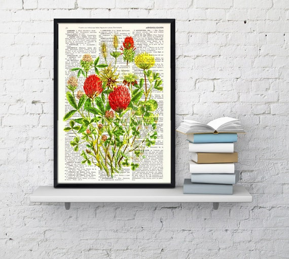 Summer Sale Wild Flowers bouquet book print - Book print page - Upcycled book page wall art book print BFL121