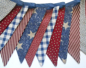 Patriotic Banner/ Red, White and Blue Bunting/ 4th of July Banner/ Labor Day/  Photo Prop /Vintage Insired