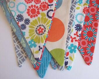 Fabric Bunting Banner / Photo Prop /  Birthday Decoration/  Bedroom Nursery Decoration/ Orange, Teal, Grey. Sage Green, Aqua Blue