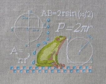 Study of the Circle Little Frog cross stitch patterns by Filigram at thecottageneedle.com mathematics back to school teaching embroidery