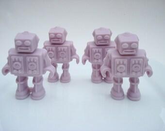 Robot Soap - Set of Four - Miniature Robot Soap - Periwinkle Soap - Grey Soap - Light Purple Soap - Gift for Kids, Geeks, Nerds, Unisex