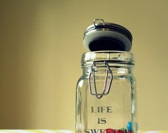 "Custom Engraved ""Life is Sweet!"" Mini Glass Jar with Metal Hinge - Finished Product"