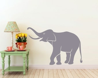 Elephant vinyl Wall DECAL- Jungle Africa India interior design, sticker art, room, home and business decor