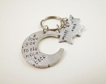 Personalized Keychain - Moon and Stars  Key Chain - Pewter - Womens - Grandma - Mom - Kids Names - Nana - Mother - Wife - Hand Stamped