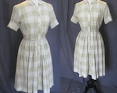 1950s Vintage Westbury Fashions in Sage and White / 50s Checkered Day Dress Shirtwaist with full Pleated Skirt - Rockabilly Small / Medium