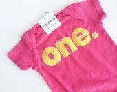 First Birthday Pink And Yellow Polka Dot ONE Bodysuit Shirt