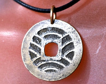 ANTIQUE JAPANESE Coin NECKLACE. pendant. charm. coin jewelry.  mens jewelry No.002065
