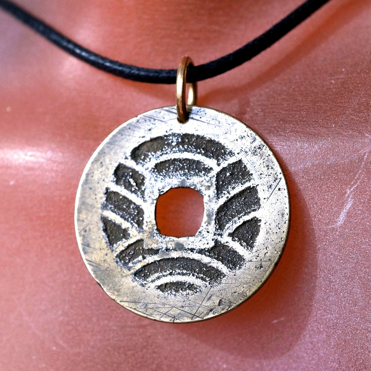 antique japanese coin necklace pendant charm coin jewelry