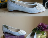 Lace wedding shoes ballet flats low heel short heel bridal shoes embellished with ivory Venice lace