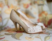 Wedding shoes gold champagne silver metallic peep toe high heels vegan bridal shoes embellished with floral ivory Venice lace