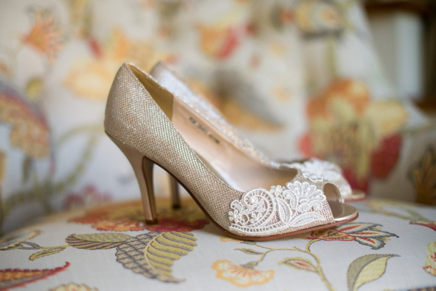wedding shoes gold champagne silver low heel wedding shoes heels vegan bridal shoes embellished with floral zoom