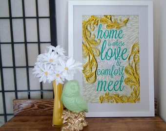 Home is where love and comfort meet, Inspirational poster, quilled border, script typography, Paper art print, 12 x 18 print, Ready to ship
