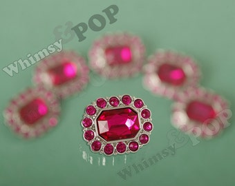 Hot Pink Gem Acrylic Buttons,  Rhinestone Button, Shank Buttons, 25mm (R6-111)