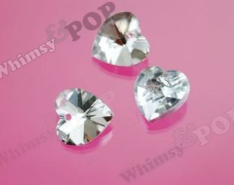10 - Foil Back Clear Heart Multi-Faceted Glass Crystal Beads, Glass Heart Beads, 14mm (R8-052)