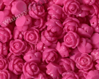 Hot Pink Rose Beads, Flower Beads, Drilled Flowers, 9mm Flower Beads, Tiny Flower Beads, 1mm Hole (R6-166)