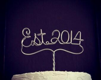 Established 2014 Est. Year Wedding or Anniversary Cake Topper