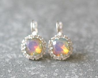 Opal Rainbow Earrings Swarovksi Crystal Raibow Diamond Rhinestone Tennis Style Leverback Drop Earrings