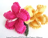 Knit Flower Instant Download PDF Pattern - Hibiscus Flower