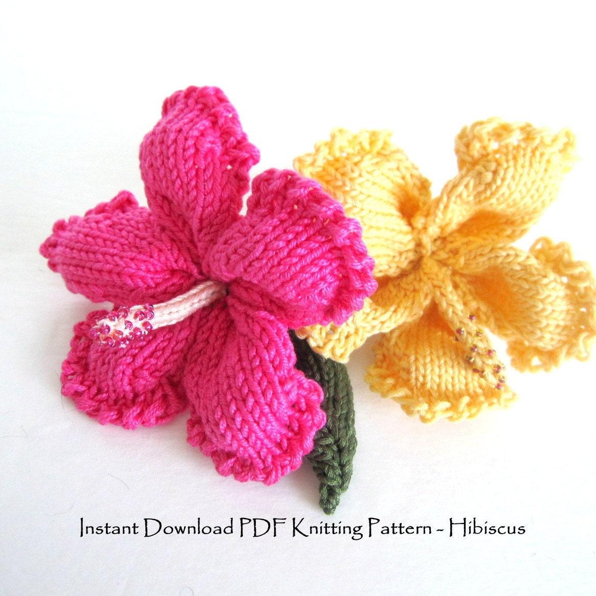 Knit Flower Instant Download PDF Pattern Hibiscus Flower