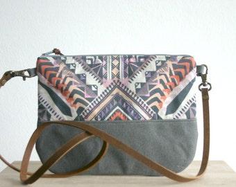 Aztec bag, Aztec print, Tribal print, Small handbag ,Clutch Purse, Pastel, Geometric print