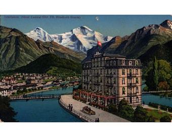 Vintage 1920s Swiss Postcard Hotel Central Continental Interlaken Switzerland European Travel Ephemera 1929