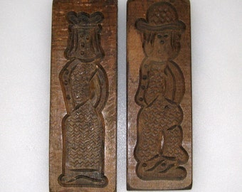 2 Old Dutch Folk Art Wooden Cookie, Biscuit Molds / Hand Carved Speculaasplank / Primitive Kitchen Decor / FREE US Shipping