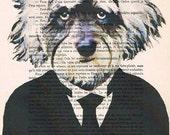 Einstein Schnautzer: Print Poster Illustration Acrylic Painting Animal Portrait  Decor Wall Hanging Wall Art Drawing Glicee Digital