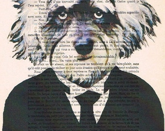Einstein Schnautzer: Print Poster Illustration Acrylic Painting Animal Portrait  Decor Wall Hanging Wall Art Drawing Glicee Digital